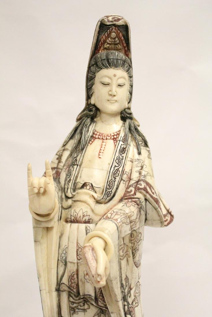 A large Chinese bone carved Guanyin - 6