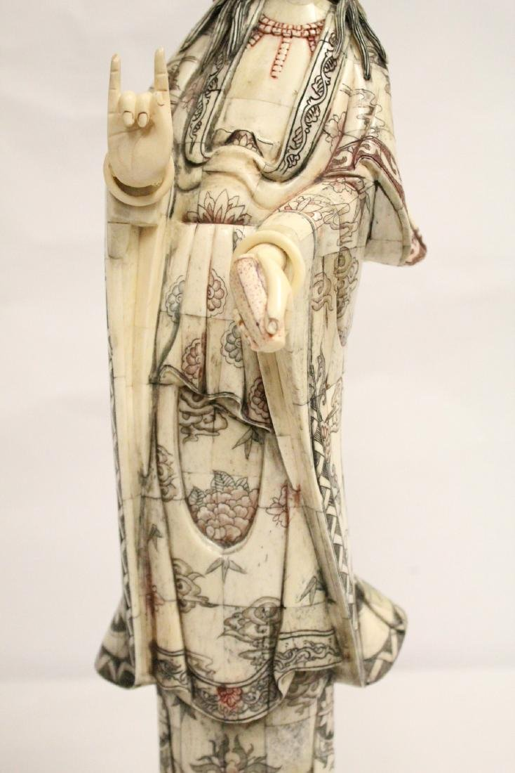A large Chinese bone carved Guanyin - 7