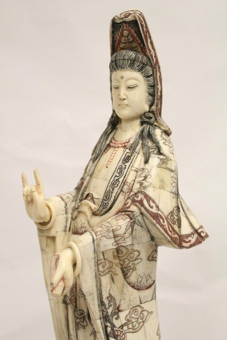 A large Chinese bone carved Guanyin - 9