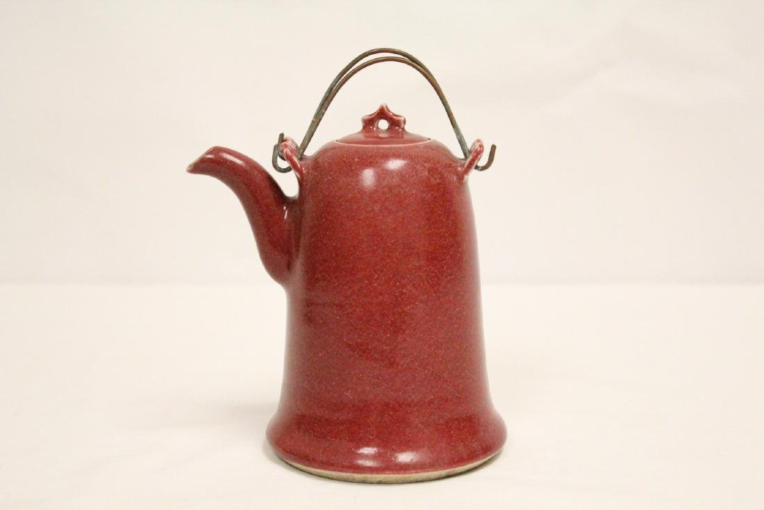 Chinese red glazed porcelain teapot