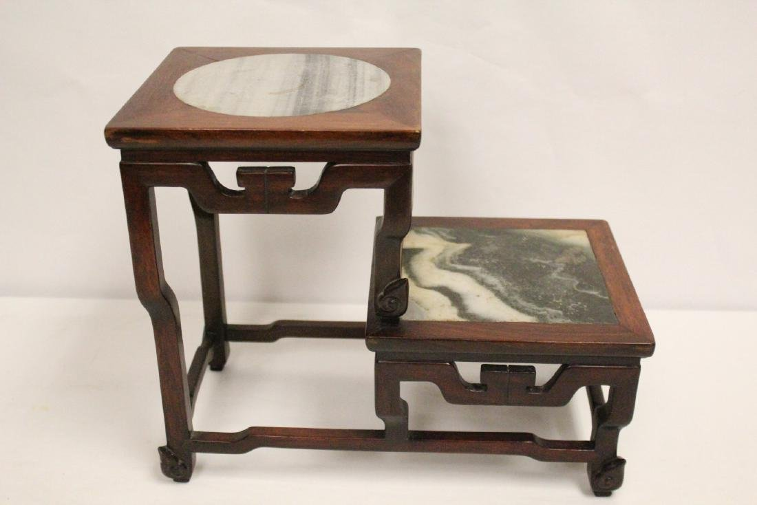 Chinese antique rosewood stand with marble inset