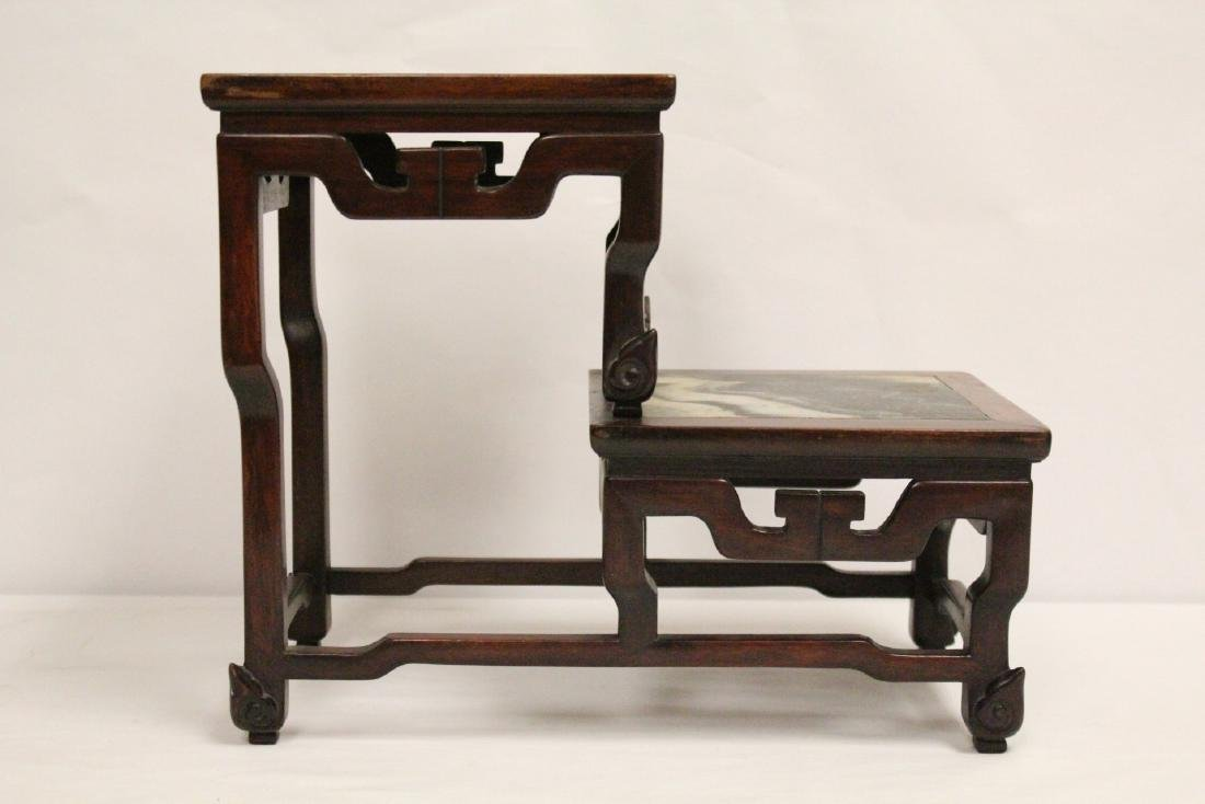 Chinese antique rosewood stand with marble inset - 2