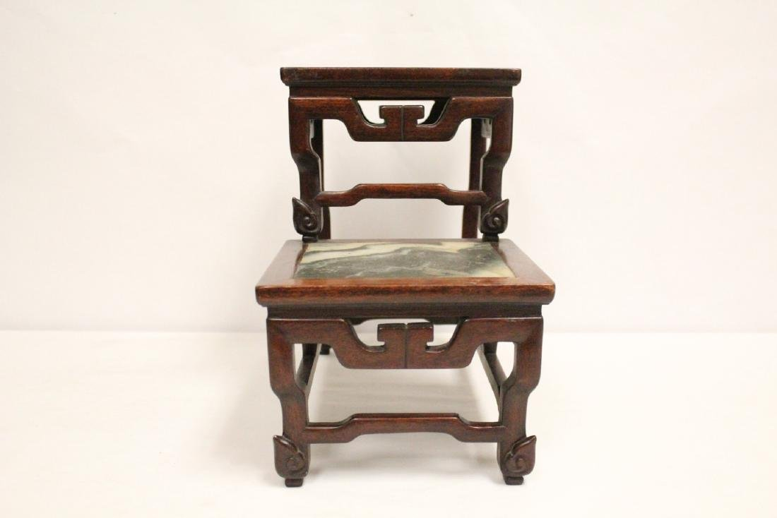 Chinese antique rosewood stand with marble inset - 3