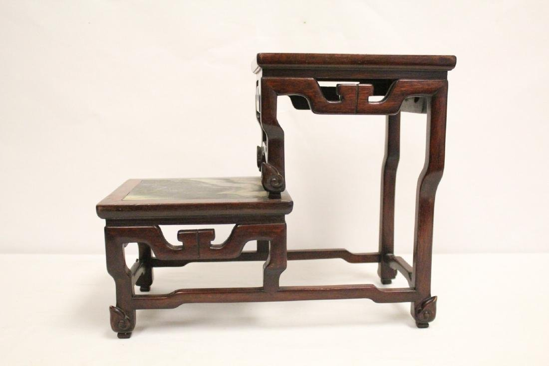 Chinese antique rosewood stand with marble inset - 4