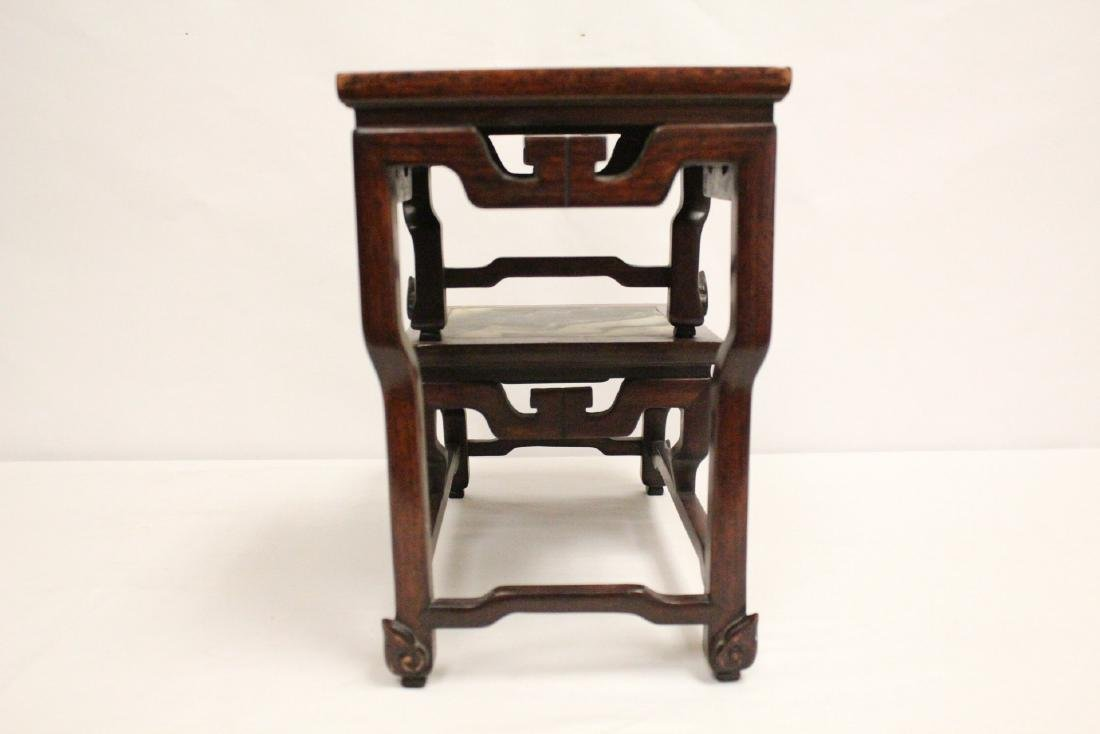 Chinese antique rosewood stand with marble inset - 5