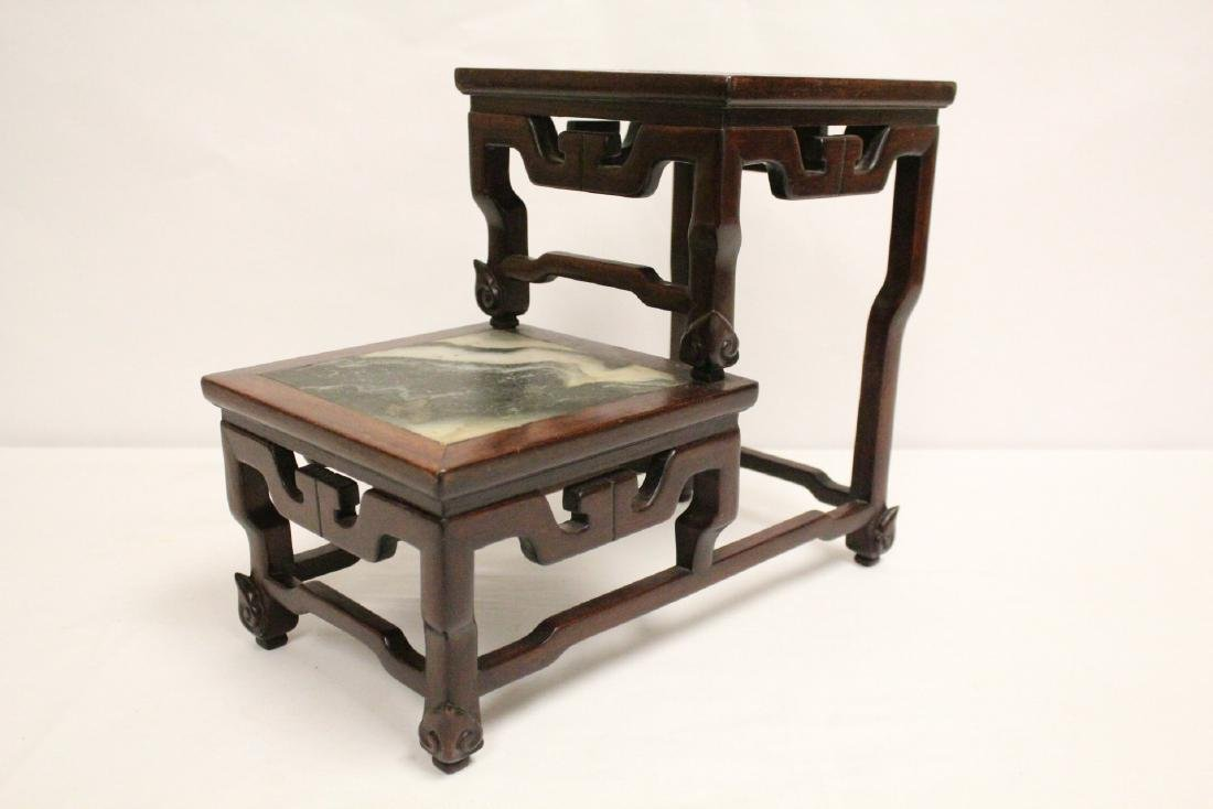 Chinese antique rosewood stand with marble inset - 6