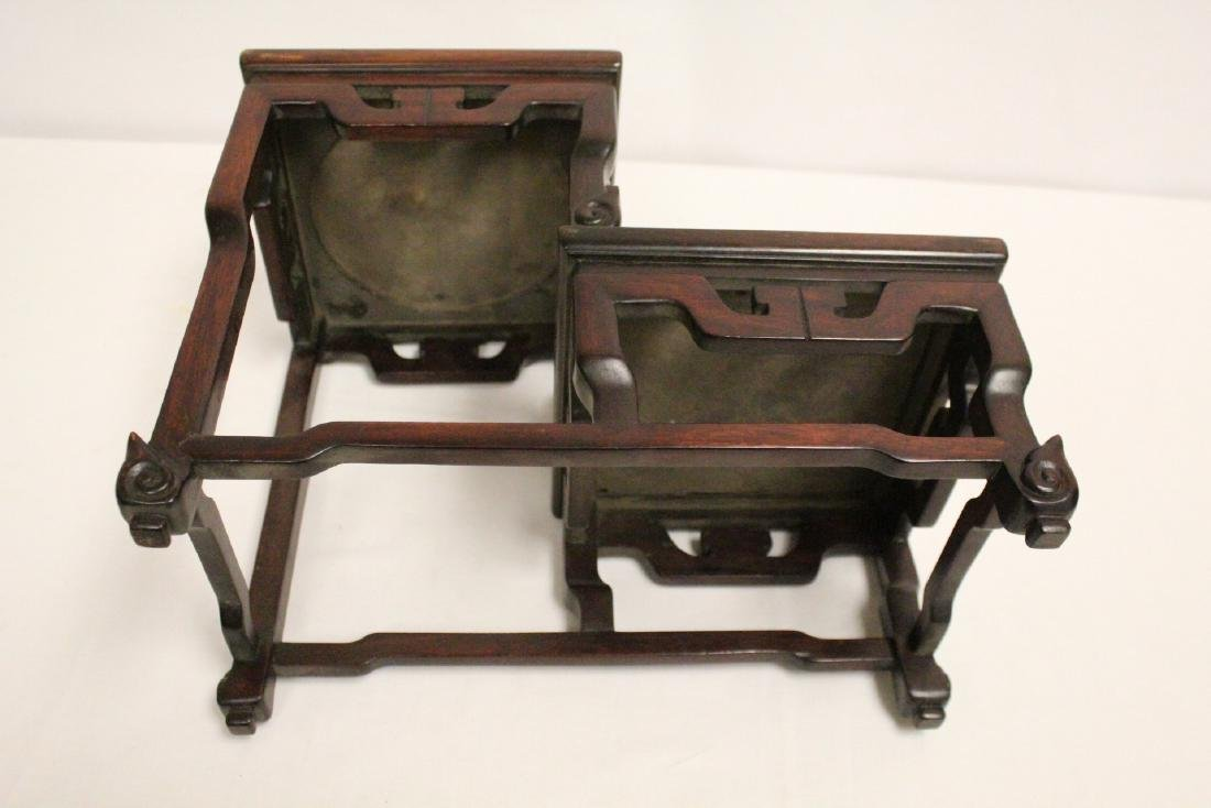 Chinese antique rosewood stand with marble inset - 8