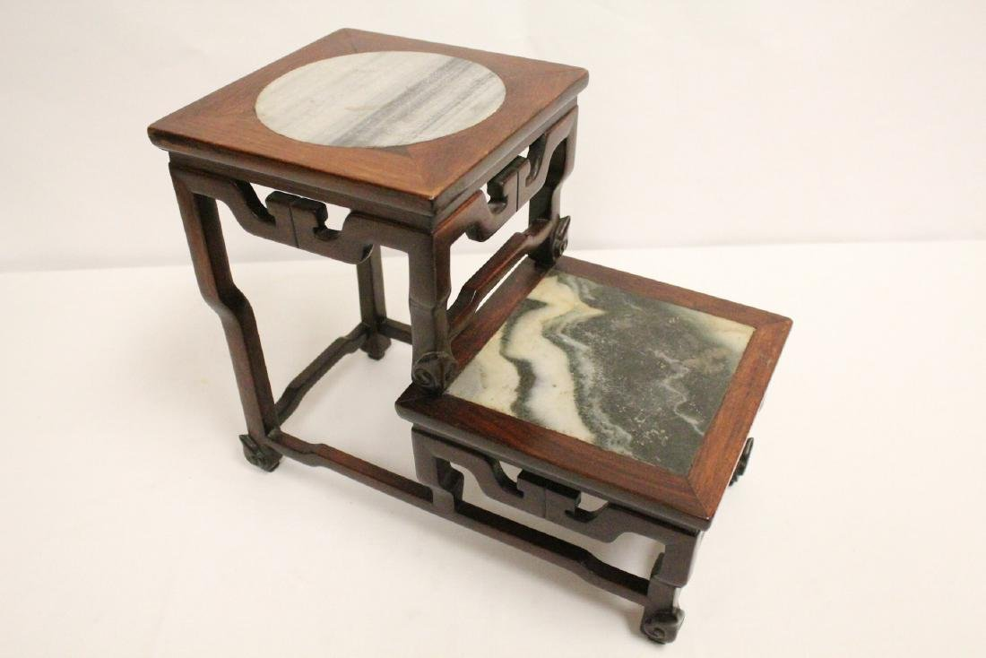 Chinese antique rosewood stand with marble inset - 9