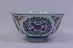 Chinese wucai porcelain tea bowl
