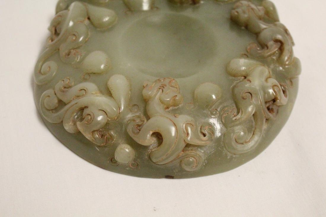 A Chinese celadon jade carved ink slab - 5