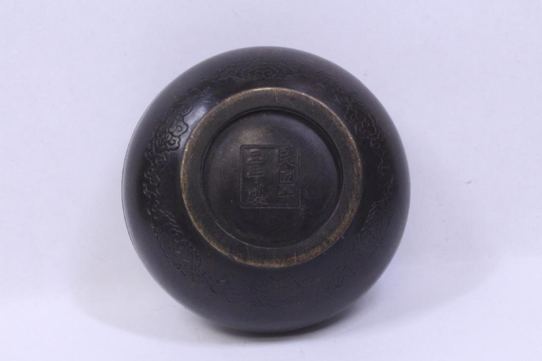 Chinese bronze ink paste box with calligraphy - 9