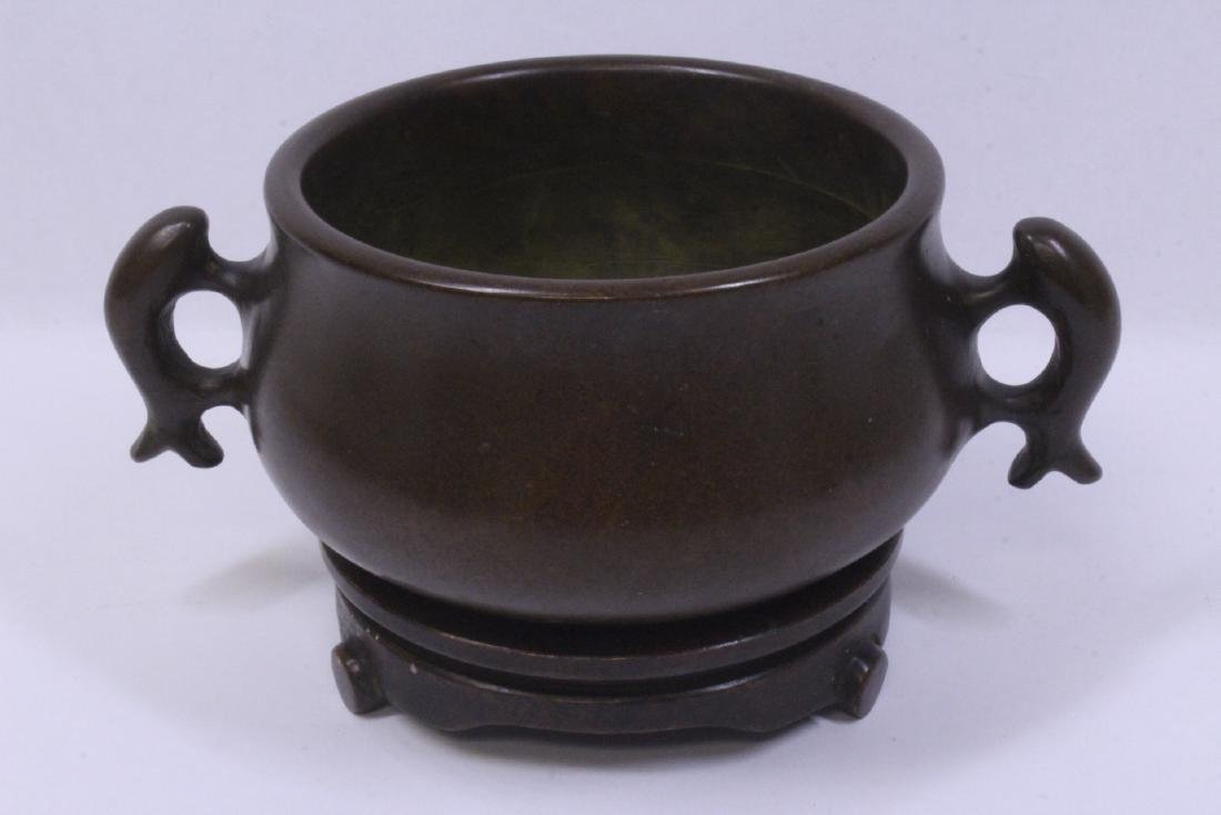 Chinese very heavy bronze censer with bronze base
