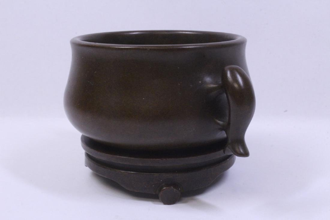 Chinese very heavy bronze censer with bronze base - 2