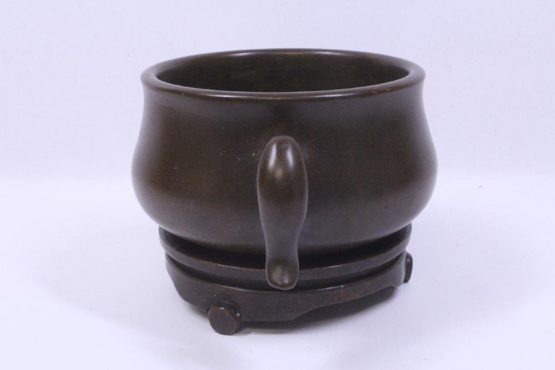 Chinese very heavy bronze censer with bronze base - 3