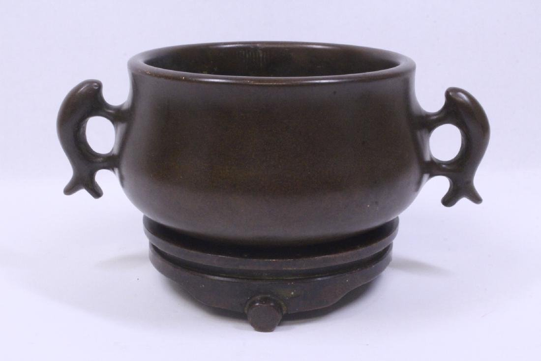 Chinese very heavy bronze censer with bronze base - 4