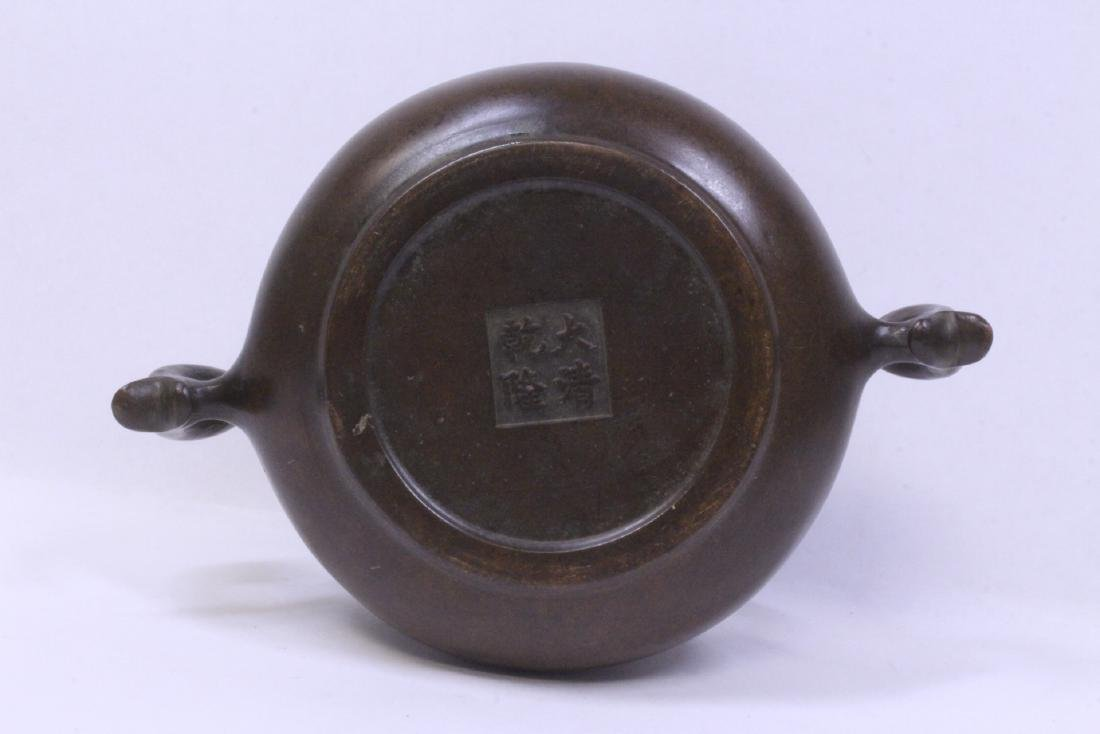 Chinese very heavy bronze censer with bronze base - 9