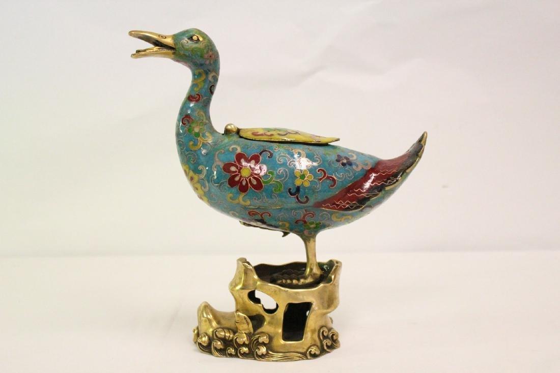 Chinese cloisonne duck form censer