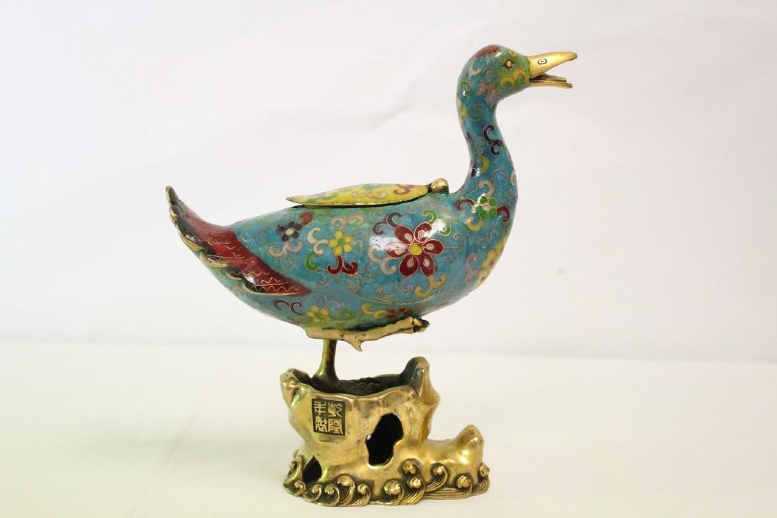 Chinese cloisonne duck form censer - 3