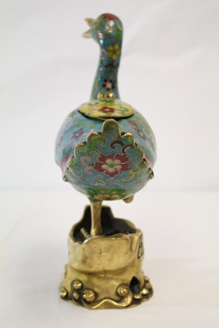 Chinese cloisonne duck form censer - 4