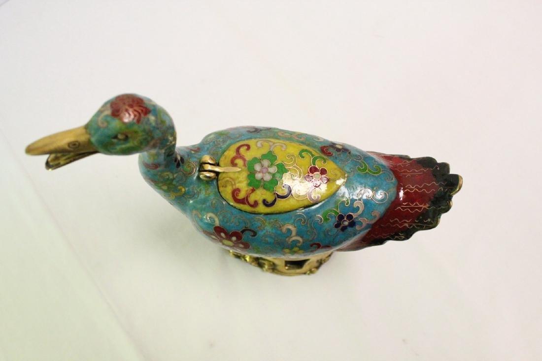 Chinese cloisonne duck form censer - 5