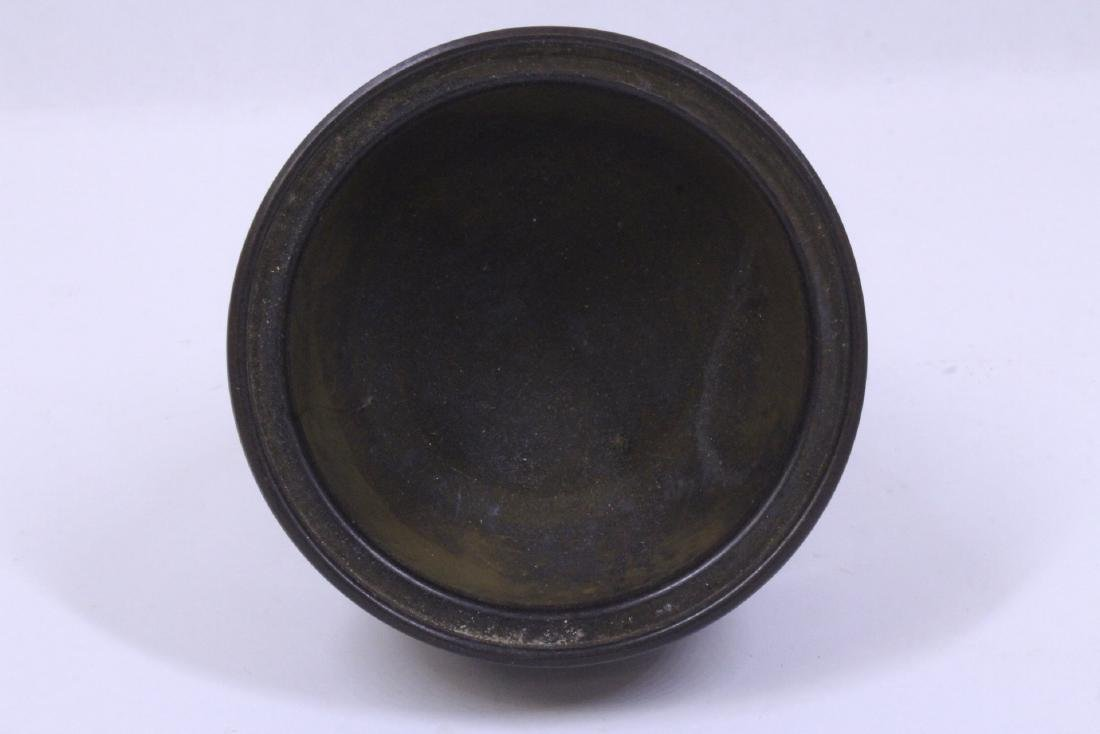 A very heavy small bronze censer - 4