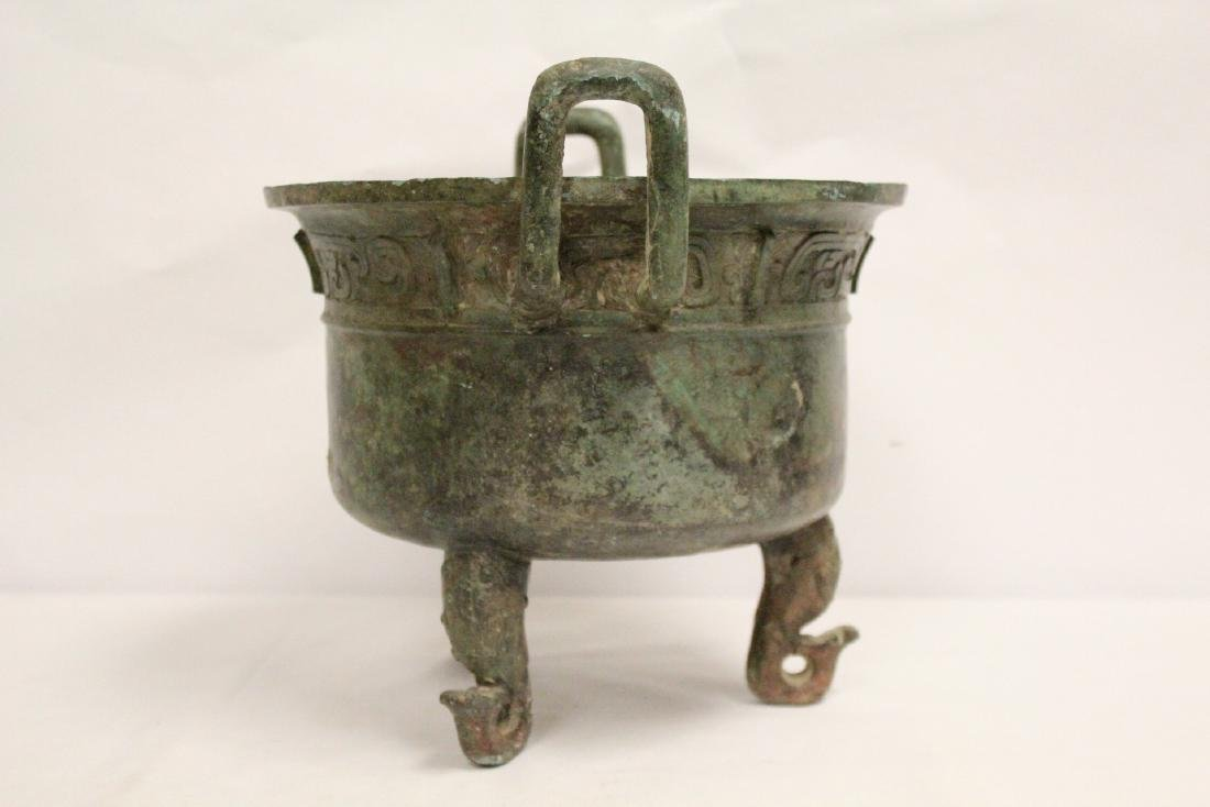 A large Chinese archaic style bronze tripod ding - 5
