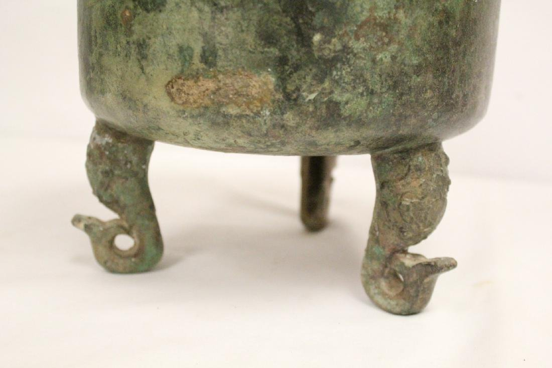 A large Chinese archaic style bronze tripod ding - 9