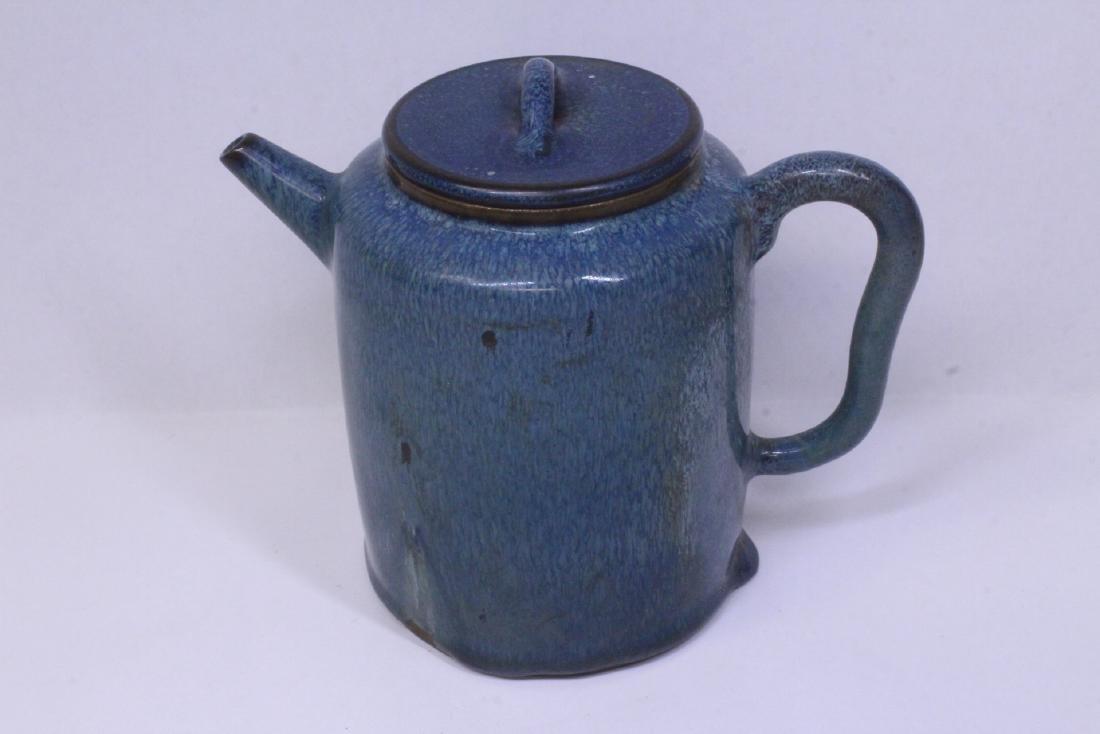 Blue glazed Yixing teapot