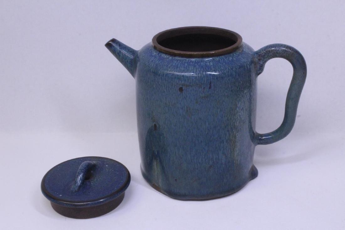 Blue glazed Yixing teapot - 2