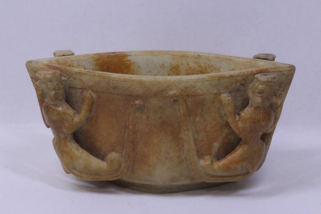 Archaic style jade carved bowl