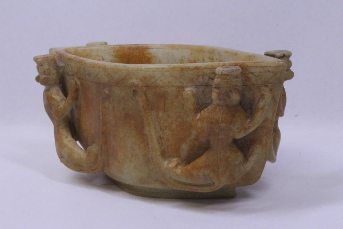Archaic style jade carved bowl - 3