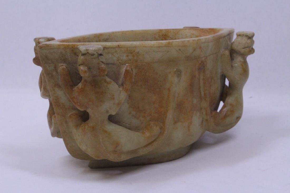 Archaic style jade carved bowl - 5