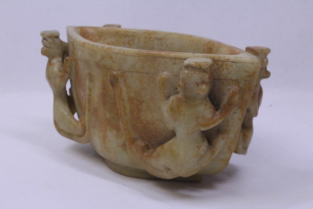 Archaic style jade carved bowl - 7