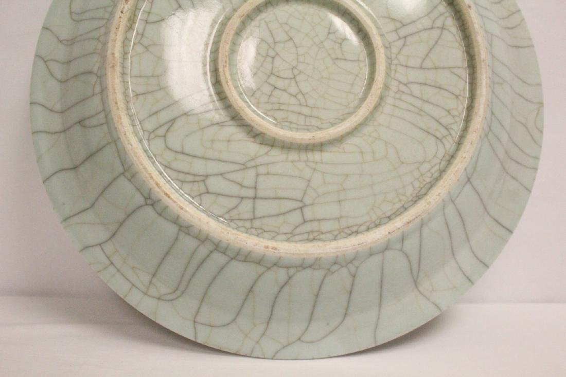 A massive crackle porcelain charger - 10