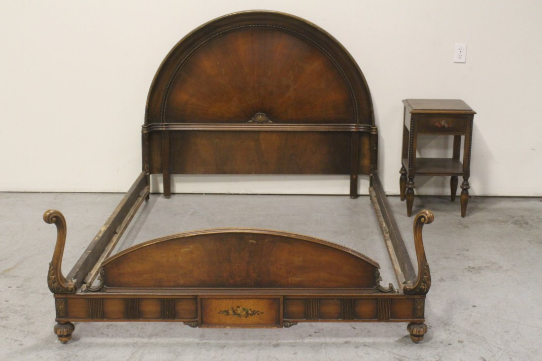 Karges walnut full size bed with night stand