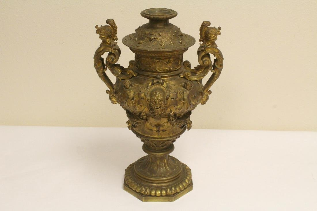 19th c. gilt bronze oil lamp, signed F. Barbedienne