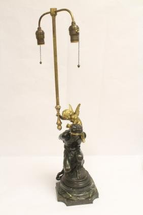 table lamp with parcel gilt bronze sculpture base