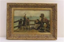 antique oil on canvas painting, signed and dated