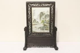 Framed Chinese Porcelain Plaque On Stand