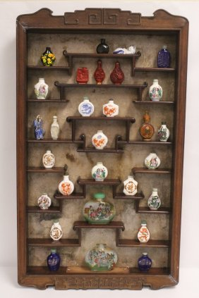 Chinese Rosewood Display Case, With Snuff Bottles