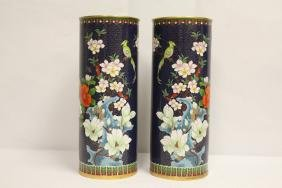 Pair Chinese cloisonne hat vases