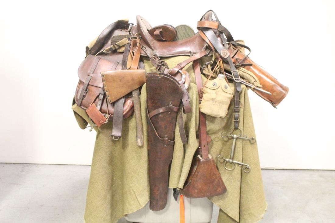 US WWI horse staple w/ 2 horse gas masks & misc.