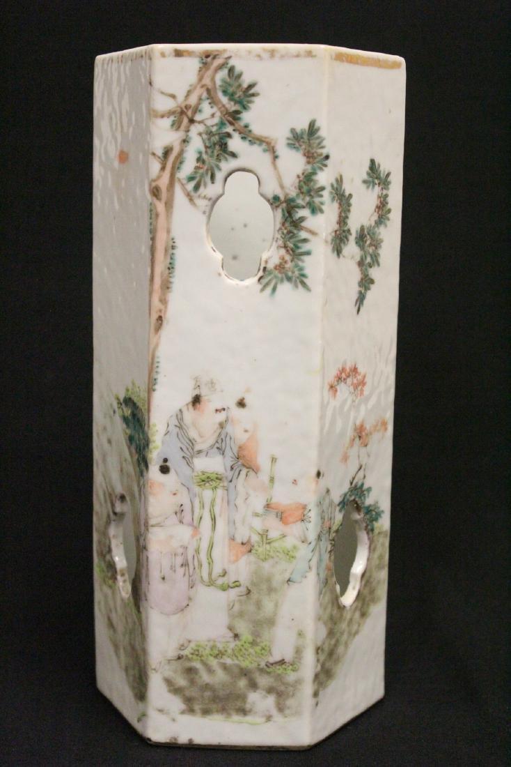 Chinese antique famille rose porcelain hat vase