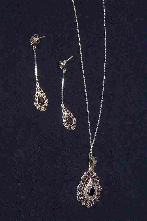 Victorian 14K garnet pendant w/ matching earrings
