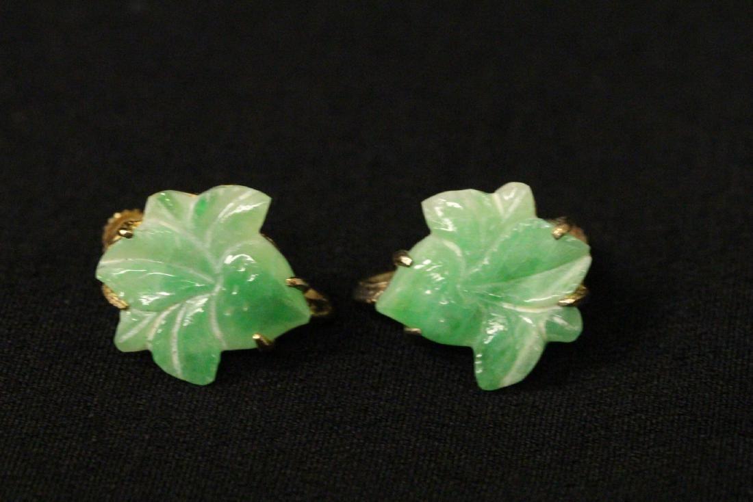 Pair vintage silver framed jadeite earrings