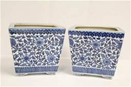 Pair Chinese blue and white porcelain planters