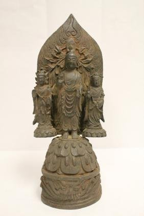 A large Chinese cast iron sculpture