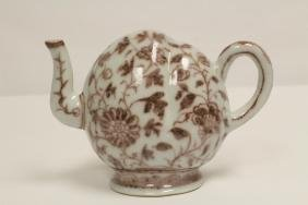 Chinese red and white porcelain wine server