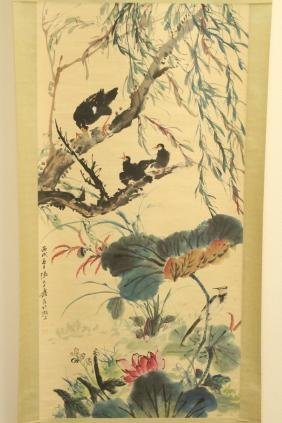 "Chinese watercolor scroll ""crows"""