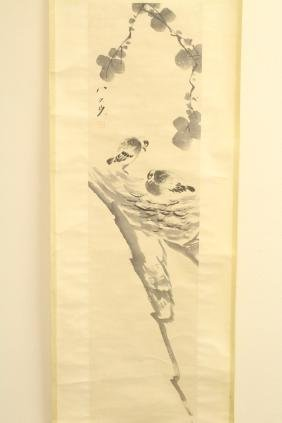 "Chinese watercolor scroll ""birds"""